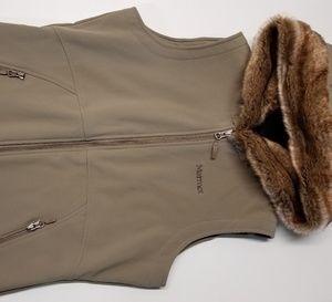 Marmot Womens hoodie vest w/ Faux fur